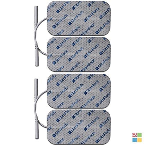 StimPads, 50X90mm, Pack de 4 Unidades de Alto Rendimiento, electrodos TENS - EMS de Larga duración con Conector Universal Tipo Snap de 2mm