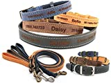 CustomDesign.Shop Personalisiertes Leder Hundehalsband Welpenhalsband und optionale Leine, Feinste Qualität