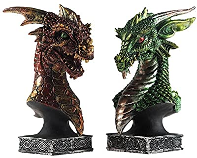 Set Of 2 Dragon Head 17cm Bust Ornament Figurines - Sirath Red / Drakko Green