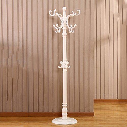 SKC Lighting-Porte-manteau Sol solide bois porte-manteau de style européen Assemblée vêtements étagère Creative chambre salon vertical cintre (Couleur : Blanc)