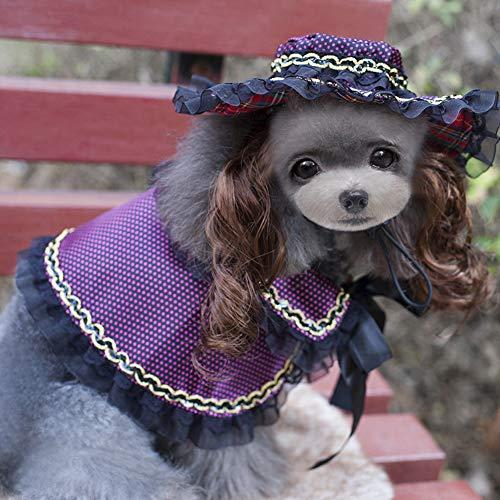 zhixing Haustier Katze Hund Gothic Lolita Mantel Lila mit Spitze Mütze Halloween Cosplay Kostüme Outfit Für Kleine Mittlere Andere Haustiere Kaninchen Pudel Bulldogge Pommerschen Corgi Kostüm (Corgi Katze Kostüm)