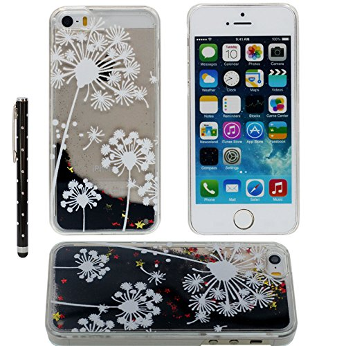 Case iPhone SE Liquide Eau Coque, Transparente Dur Étui Protection avec Écoulement Étoiles Poudre noire Désign pour Apple iPhone 5 5S SE 5G, Ananas Blanc Motif Case Avec 1 stylet color-1