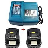 1X Makita DC18RC / DC18RA Cargador + 2X Batería para Makita BL1830 BL1840 196399-0 LXT 18V 4,0Ah Li-ion LG célula nuevo