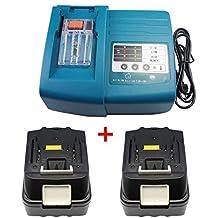 1X Makita DC18RC / DC18RA Cargador + 2X Batería para Makita BL1830 BL1815 LXT 18V 3,0Ah Li-ion LG célula