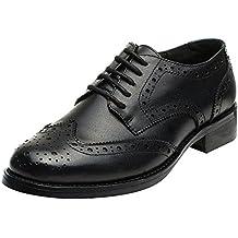 44edb603eca Rismart Mujer Brogue Dedo del Pie Puntiagudo Puntas De ala Oxfords Zapatos  De Cordones