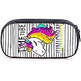 Travistar Unicorno Astuccio,Grande astuccio quadrato per matite, cancelleria, sacchetto con cerniere per ragazzi e ragazze