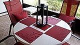 Pauwer Tisch-Platzmatte, 6er Set Esstisch-Platzmatten, Rutschfeste Gewobene Platzmatten, Hitzefeste Tischmatte, Waschbare Platzmatten, Einfach zu Reinigen (6,Rot Leaf) - 5
