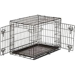 AmazonBasics - Gabbia per cani in metallo, pieghevole, con 2 sportelli, 76 cm