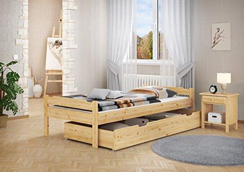 Massivholzbett Kiefer natur 90x200 Einzelbett mit Rollrost Matratze Bettkasten 60.31-09 M S5