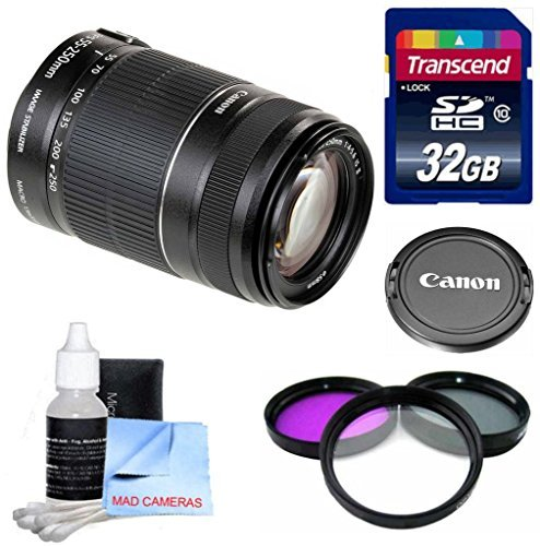 Canon Lens Kit for Canon T5i With Canon EF-S 55-250mm f/4-5.6 IS II Lens (58mm Thread) + 32 GB Transcend SD Card + 3 Piece UV CPL FLD Filter Kit + 3 Piece Cleaning Kit  available at amazon for Rs.28800