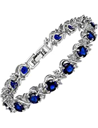 Rizilia Women 18K GP Swarovski Crystal Elements White Ear Gold&Silver Bracelet L4Lnmawgx