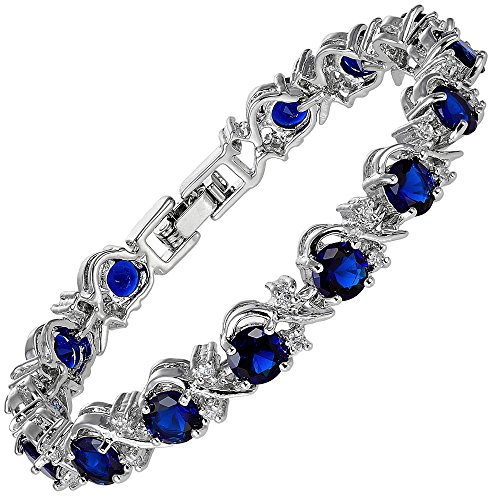 [RIZILIA BLOSSOM] Tennis Bracelet [18cm/7inch] with Round Cut Gemstones CZ [Blue Sapphire] in 18K White Gold Plated, Simple Modern Elegance