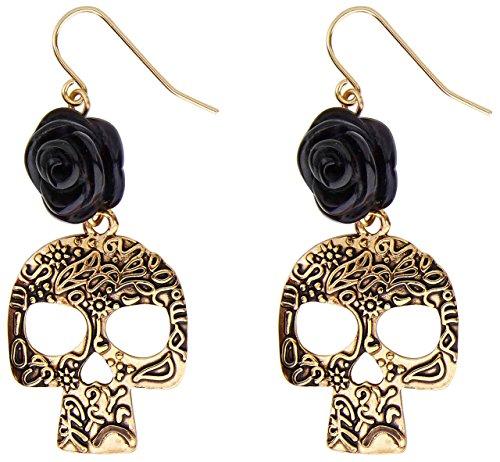 Generique - Schwarze Rose-Totenkopf Ohrringe für Erwachsene