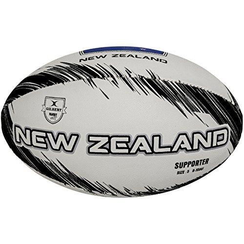 Gilbert Supporter Nueva Zelanda, Balón de Rugby, Unisex color Gris, Talla 5