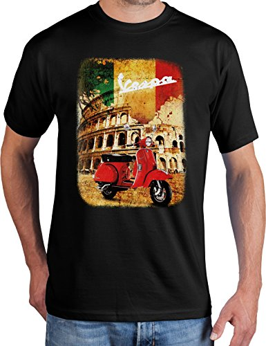 adrotes Vespa Roadtrip - Vintage T-Shirt - Gr. S-5XL (4XL, Black)