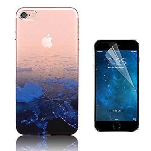 Custodia iPhone 7 ,Bonice Cover iPhone 7 Silicone Trasparente TPU Flessibile Ultra Sottile Paesaggio Scenario Bumper Case per Apple iPhone 7 + 1x Protezione Dello Schermo Screen Protector - Pattern 21 model 12