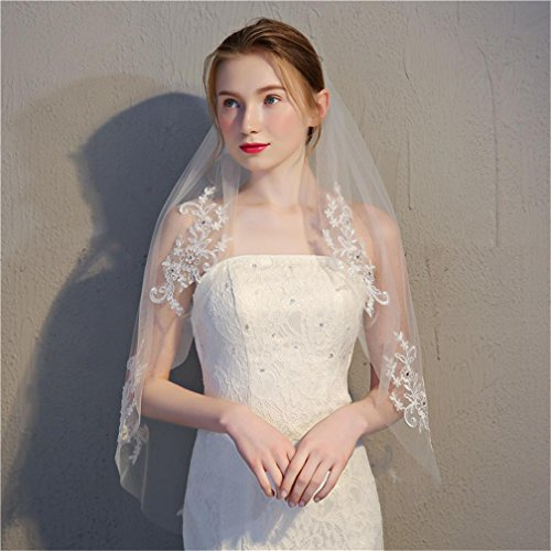 Velo nuziale da sposa garza monostrato con pettine inserto pizzo e strass avorio bianco / bianco , pure white