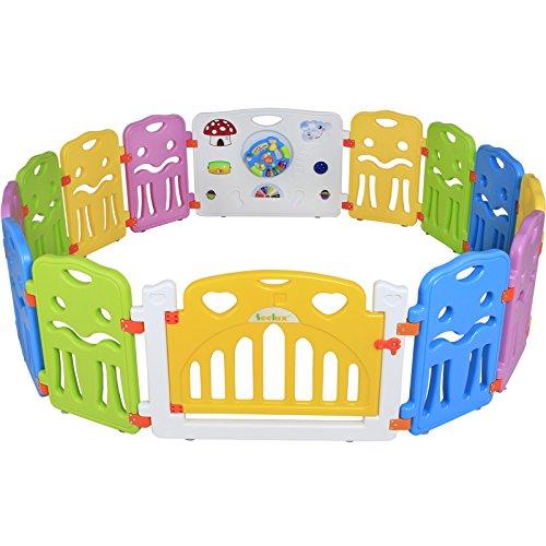 Seelux Kinder Laufstall Laufgitter aus Kunststoff mit Tür und Spielzeugboard (12+2)