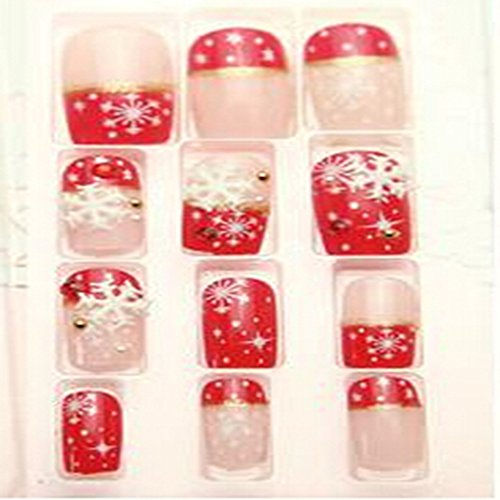 Evtech(tm) 24 PC Nail Stickers Bling Bling demi artificielle 3D Snowflake Floral diamant strass cristal français faux ongles de luxe Nail Art Rouge Conseils Transparence Fashion Style Glitters Nail Art Outil