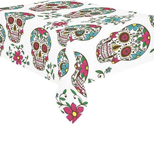 isch Decor Weiß Sugar Skull Flower Tischdecke Sets 132,1x 177,8cm-Dia de los Muertos Sofa Tisch Tuch Cover für Dinner Party Dekoration ()