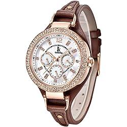 Alienwork Quartz Watch Multi-function Wristwatch nacre Rhinestone Leather white brown K002GA-05