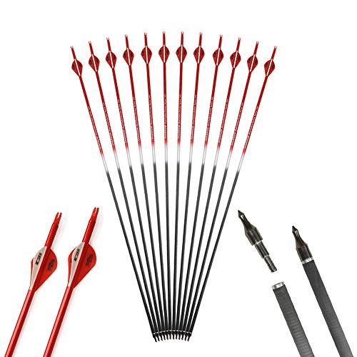 AMEYXGS Bogenschießen Pure Carbon Pfeil Zielübungspfeil Spine 340 Jagdpfeil für Compoundbogen und Recurvebogen (rot, 6pcs)