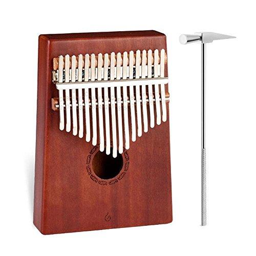 AOLVO 17 Clave Kalimba Pulgar Piano Dedo Mbira con Martillo de Tune e Instrucciones de Estudio, Cuerpo de Caoba, Estándar Internacional C Tune