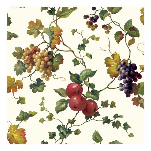 york-wallcoverings-kh7091-kitchen-and-bath-fruit-ivy-wallpaper-white-butterscotch-shades-of-green-pu