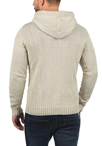 SOLID Pit Herren Kapuzenpullover Strick-Hoodie Strickpullover mit Kapuze aus hochwertiger Baumwollmischung Oyster Grey (8215)