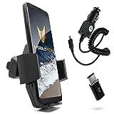 Mobilefox KFZ SET 360° Auto Lüftungsgitter Handy Halterung Halter + Type C Adapter Ladekabel für Samsung Galaxy A3 A5 (2017)
