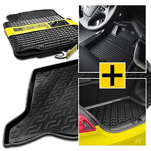 online-fussmatten OF-SET-98890 Passgenaue Kofferraumwanne + Gummifussmatten, Set/Kit (Siehe Artikelbeschreibung) - Fiat 500 Autoteppich, Fußmatte