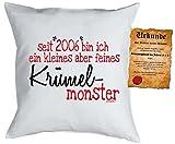11 Geburtstag Sprüche Kissen - Kuschlekissen Kinder : seit 2006 Krümelmonster -- Dekokissen mit Füllung - Farbe: weiss