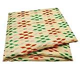 PEEGLI Indische Jahrgang Gedruckt Saree Creme Baumwolle