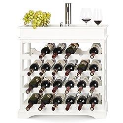 HOMFA Wine Rack 24 Bottles Holder Wooden Wine Cabinet Display Shelves White 70*22.5*70cm