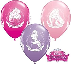 "Disney Princess Happy Birthday 11"" Qualatex Latex Balloons x 10P"