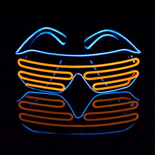 e Brille, JIAMA 2 Farben EL Draht Mode Neon Verschluss Elektrolumineszenz Blinkende LED Sonnenbrille mit Batterie Fall Controller für Halloween Weihnachten Geburtstag Party Gefallen (Blau + Orange) (Zwei Jahres Alt Halloween Kostüme)