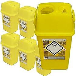 Qualicare perforants Safe Aiguille Seringue à insuline Disposal Chirurgie Poubelle Box–1litre, Lot de 6