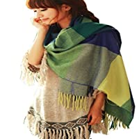Yeah67886 Fashion Lady Women Warm Oversized Cozy Checked Cotton Scarf Shawl (Blue + Green)