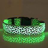 Evtech (tm) del estampado leopardo de Seguridad Noche plomo collar de perro de animal doméstico del gato Collar ajustable con Flash Green Light-up - S