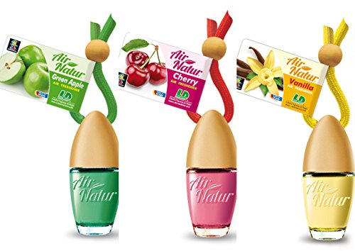 3 Stylisch-modische Air Natur Little Bottle Duftflakons Lufterfrischer Auto- und Raumduft 6ml - 1x Apple - Apfel, 1 x Cherry - Kirsche, 1 x Vanille