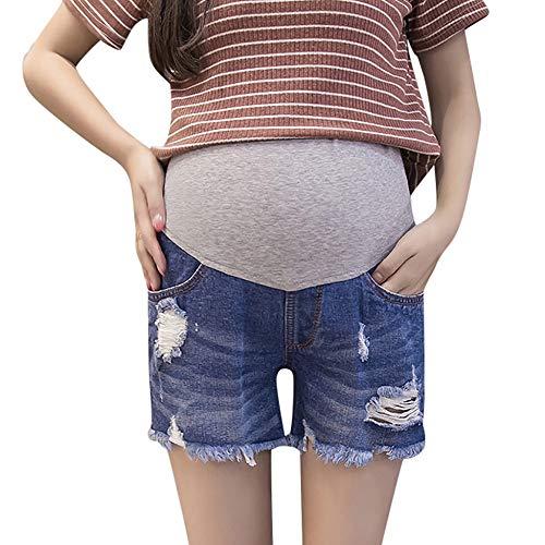 Damen Umstandsmode Kurze Jeans Umstandsshorts Destroyed Jeanshose Mutterschaft Umstandsjeans Umstandsleggings für Schwangere Shorts Skinny Umstandshose Hohe Taille Schwangerschaftshose