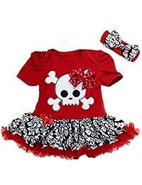 Metallimonsters negro y rojo del cráneo del bebé diseño de papel pintado de faldón Mono corto de (12,18 más posibilidades sin fin)