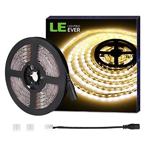 LE Tira LED Luces, 5m 300 LED SMD 5050, Blanco Cálido, 720 Lúmenes por Metro para Techo, Escaparate, Muebles, etc.