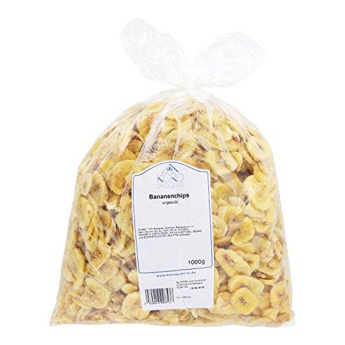 Preisvergleich Produktbild KoRo - Bananen Chips Getrocknet / 1 kg,  Schwefelfrei,  Ungesüßt,  Mit Kokosöl,  Packung,  Vorteilspackung,  Bananenchips
