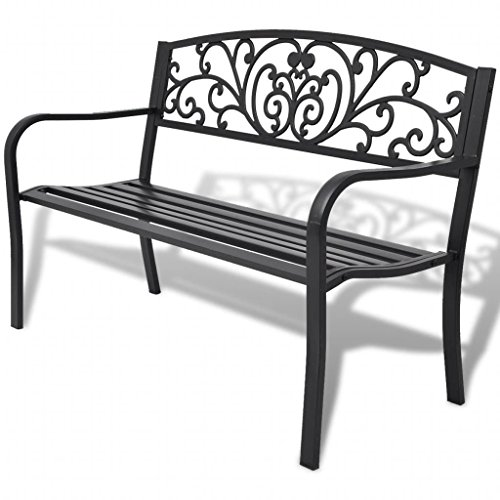 SHENGFENG Gartenbank aus Stahl + Eisen, Sitzbank für den Außenbereich, 127 x 60 x 85 cm, Schwarz -
