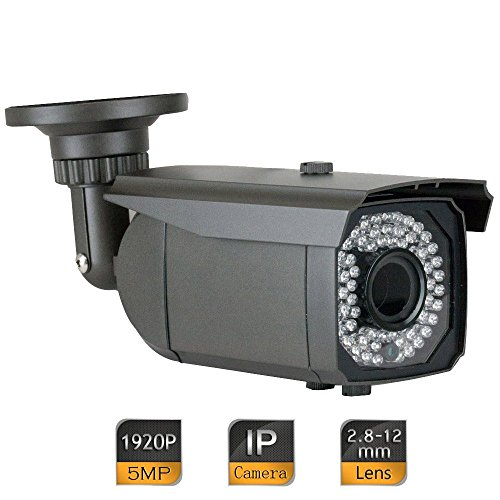 GW-Security-5-Megapixel-2592-x-1920-Pixel-HD-1920P-Outdoor-Network-PoE-Power-Over-Ethernet-1080P-Security-IP-Camera-With-28-12mm-Varifocal-Zoom-Len-64-IR-LED-180FT-Night-Vision-Grey