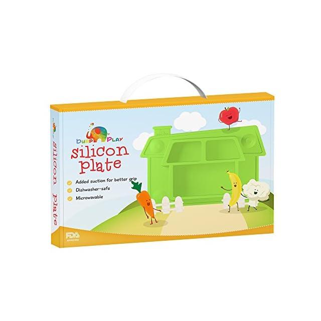 Assiette à ventouse silicone pour bébé ? Motif unique en forme de maison, idéal pour petits enfants ? Adapté au micro-ondes et lave-vaisselle ? Le cadeau idéal de naissance