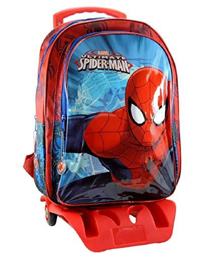 Marvel spiderman zaino scuola trolley rimovibile 41x32x14cm blu rosso elementari medie