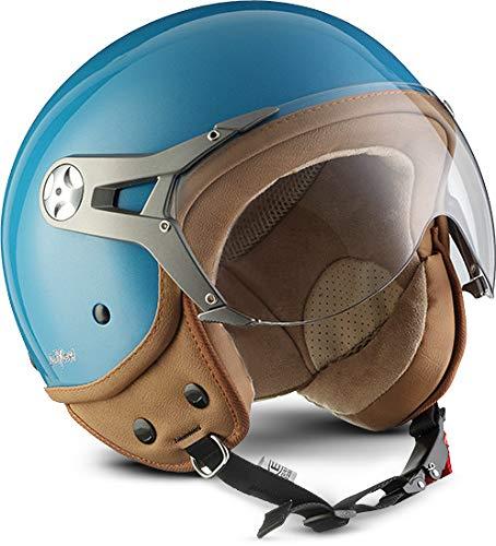 SOXON SP-325-MONO Crystal Blue · Cruiser Casco Demi-Jet Biker Scooter Mofa Moto Urbano Piloto Vespa Retro Chopper Urban Bobber Motard Vintage · ECE certificato · compresi visiera · compresi Sacchetto portacasco · Blu · S (55-56cm)