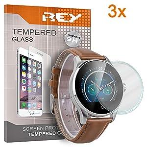 3X Protector de Pantalla Universal para Reloj 40 MM, Cristal Vidrio Templado Premium, Electrónica Rey® 3